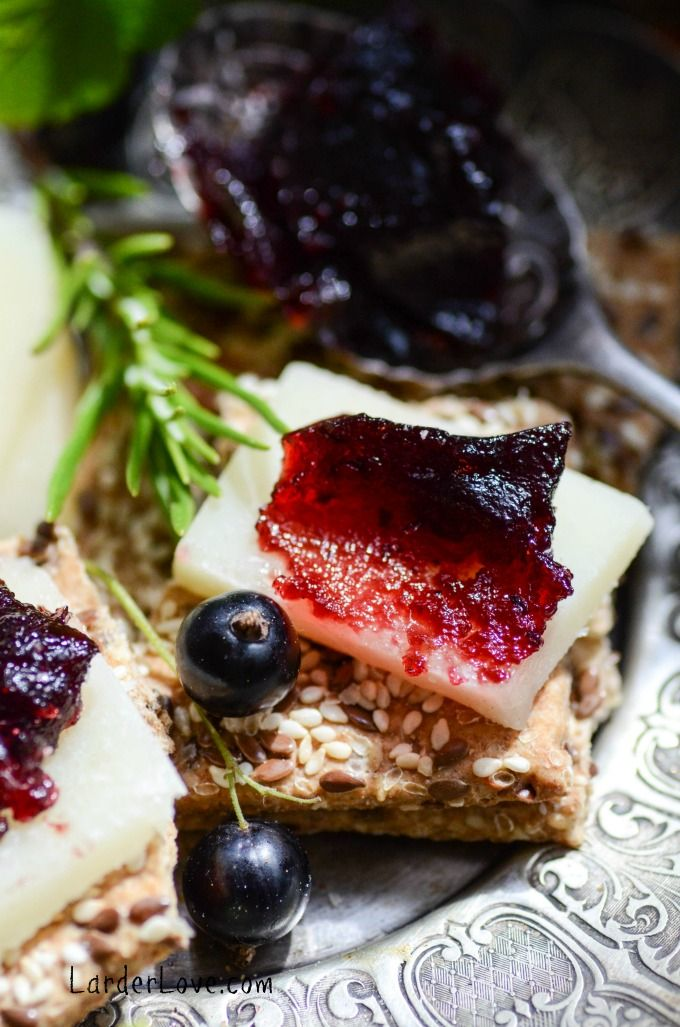 Blackcurrant And Rosemary FruitCheese. A yummy winter treat. Thicker than jams and jellies and served with cheese and meats.