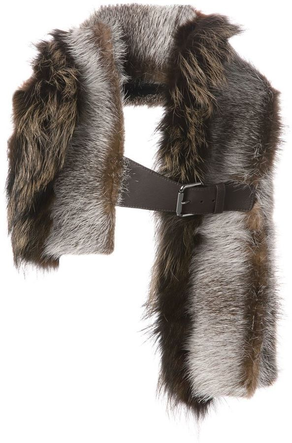 $2,650, Brown Fur Scarf: Fendi Buckled Scarf. Sold by farfetch.com. Click for more info: https://lookastic.com/men/shop_items/99344/redirect