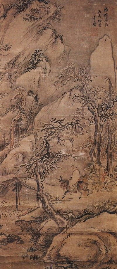 (Korea) 패교심매도 1766 by Shim Sa-jeong (1707-1769). aka Hyeonjae. ca 18th century CE. color on silk. 115×50.5cm. National Museum of Korea.
