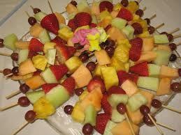 Kids party food - fruit kabobs