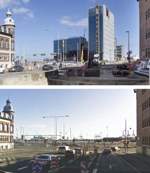 Havnekigget fra Nørreport. Øverst som det ser ud nu. Nederst som det så ud før. Fotografik: Kim Haugaard og Jens Nex.