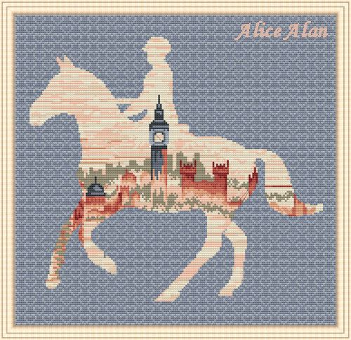 Cross Stitch Pattern Jockey on horse silhouette by HallStitch