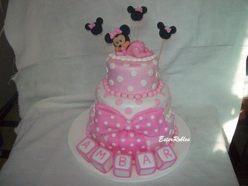 Torta Minnie Bebe : tortas y Adornos Artesanales en porcelana fria ...