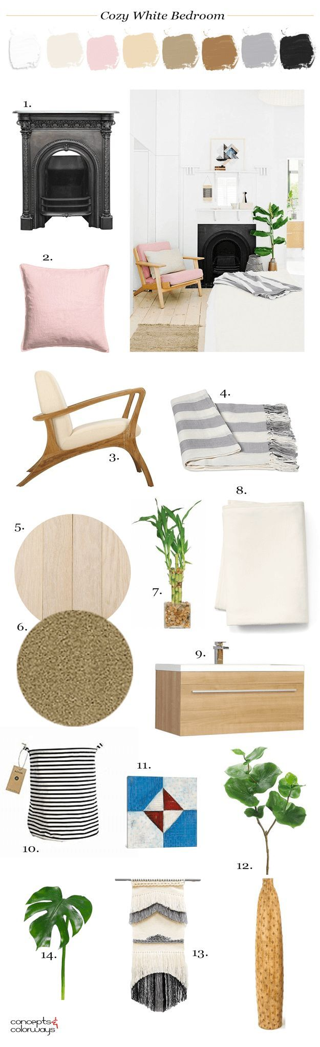 white bedroom interior design mood board, interior styling ideas, interior design inspiration, pantone ballet slipper, pantone neutral gray, sherwin williams tres naturale, natural wood flooring, golden brown rug, mid-century modern chair, blush pink pill