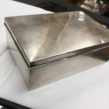 "Vintage Cartier Sterling Silver Wood Cigarette Case Treasure Box 5.2X 3.6 X 1.8"""