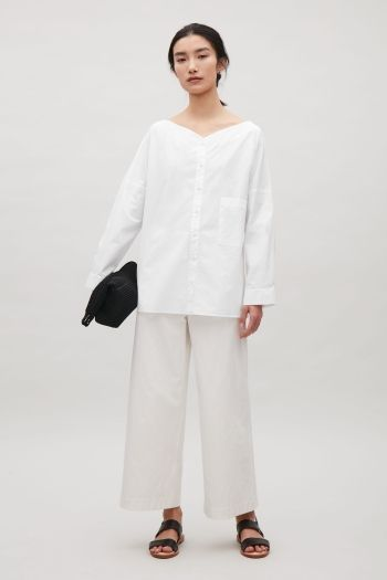 COS image 1 of Wide v-neck shirt in White