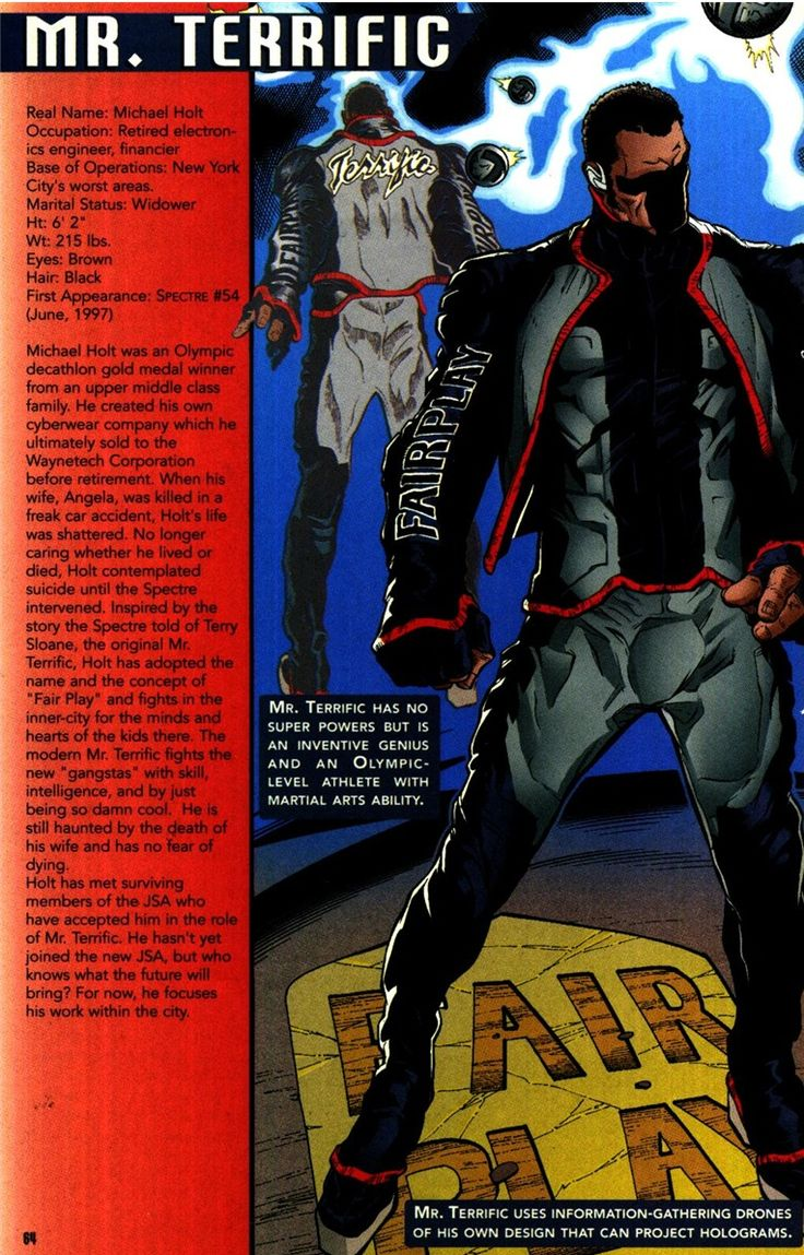 """why-i-love-comics: """"Mr. Terrific info page """" written by John Ostrander art by Grey & Vince Russell """" """""""