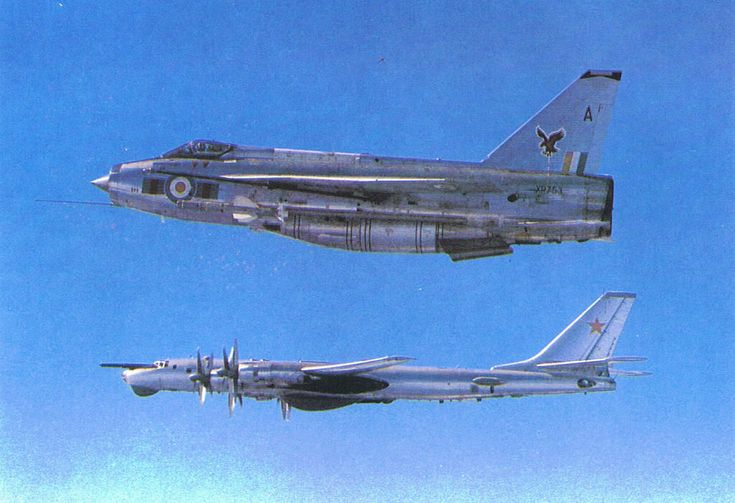 enrique262:  An English Electric Lighting escorts a Tupolev Tu-142 maritime reconnaissance aircraft out of British air space.