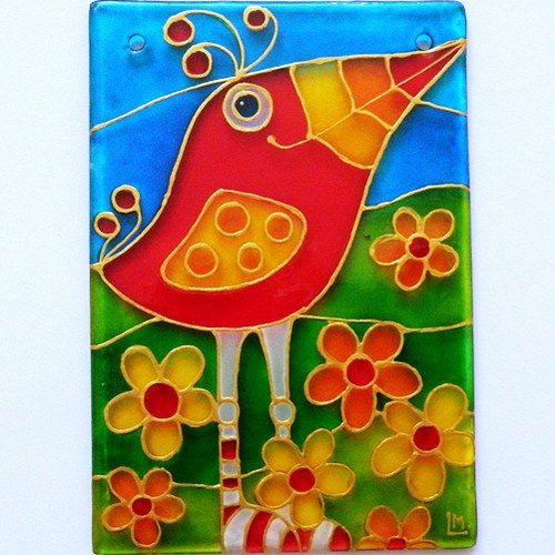 """Ručně malovaná vitráž """"Ptákustón"""" * Glass Hand Painted"""