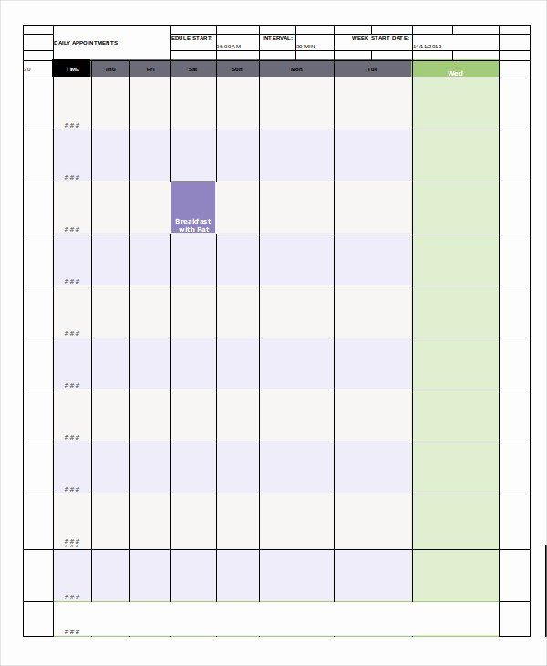 Daily Appointment Schedule Template Awesome Daily Calendar ...