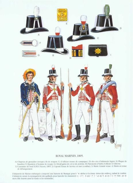 1805  British Navy. Royal British Marines.   Napoleonic Naval Plates.   nacekomie.ru