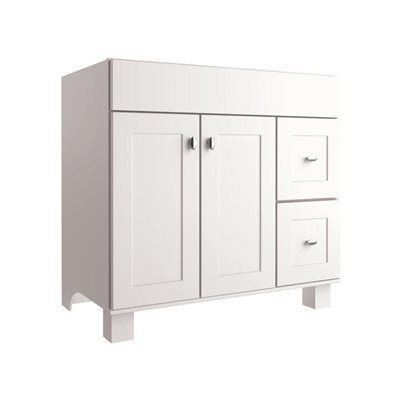 Allen roth palencia white 36 in w x 21 in d white transitional bathroom vanity 429 new ch for Diamond freshfit palencia white bathroom vanity