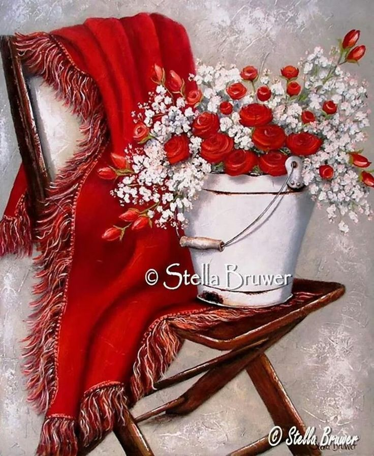 Stella Bruwer white enamel bucket with red roses  and white flowers red throw on wooden  camp chair