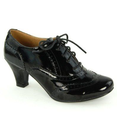 Womens Round Toe Lace Up Brogue Work Office Shoe Ladies Low to Medium Heel Court Size 3 4 5 6 7 8,£16.99