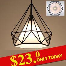 modern black birdcage pendant lights iron minimalist retro light Scandinavian loft pyramid lamp metal cage with led bulb(China (Mainland))