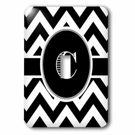 3dRose Black and white chevron monogram initial C, Single Toggle Switch