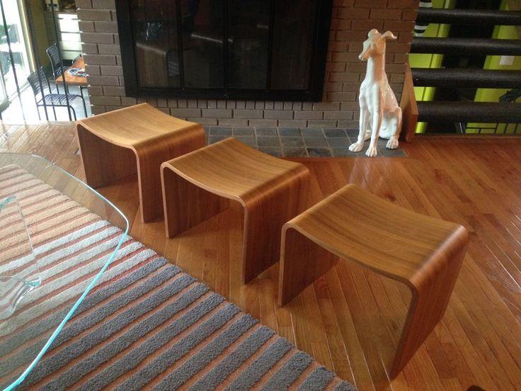 Set of 3 Vintage Danish Modern Molded Teak Plywood Benches Stools Ottomans #MidCenturyModern #Unknown