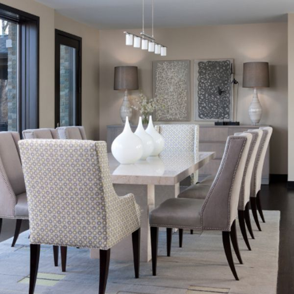 Contemporary Dining Room Design Ideas With White Marble Dining Table And  Modern Decorative Wall Arts Part 65