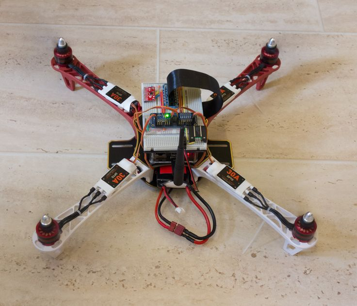 Interesting first-look at a project by Andy at PiStuffing. This is a quad-copter controlled by a Raspberry Pi. Eventually, he wants to add a second Pi as a controller. The blades are spinning at th…
