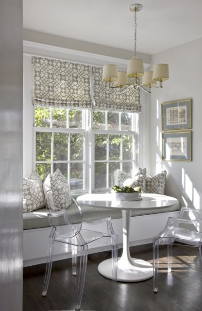 Dining Nooks -- great use of space. Looks airy and uncrowded. The ghost chairs were made for spaces like this.