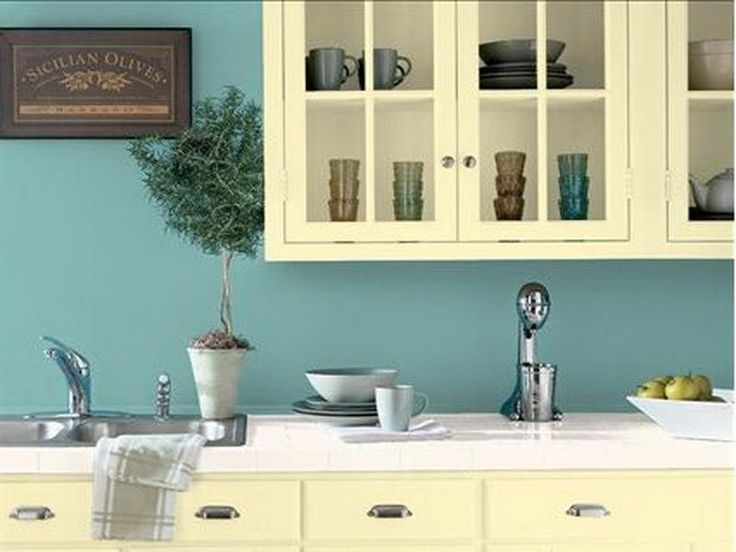 Good Blue Paint Colors For Kitchens With White Cabinets Giesendesign
