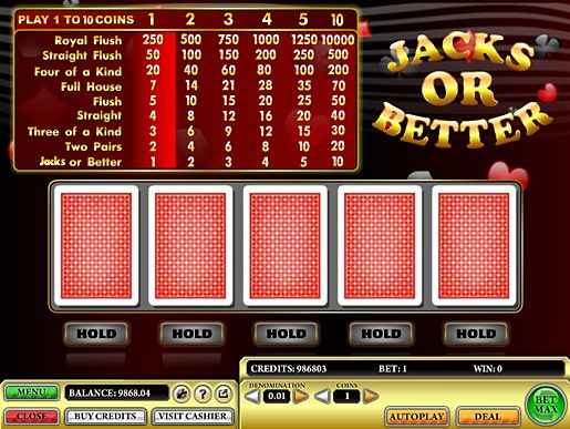Jacks or Better game is a popular online casino video poker variant based on the rules of Five-card Draw Poker. Jacks or Better video poker is played with a deck of 52 cards