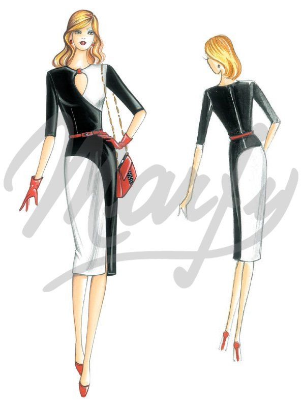 Marfy 3995. Dress with bodice featuring arcing seams to teardrop crew-neck. To be made in jersey, crêpe or flannel.