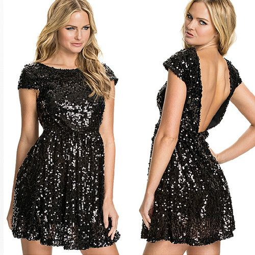 Show your beautiful skin,sexy flavor and seductive curve with this dress. It features backless style,sexy and charming. Sequins design,sparkly and bling. Take it to a party,you will be the focus.