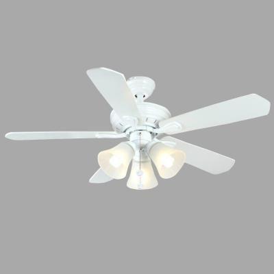 Hampton Bay Westmount 44 in. 3-Light Matte White Ceiling Fan-26627 - The Home Depot