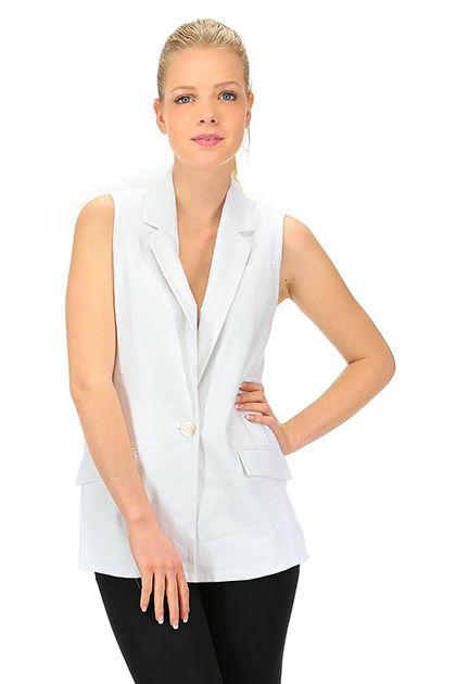 Michael Kors - Giacche - Abbigliamento - Gilet in lino con tasche laterali, chiusura con bottone singolo, Spacco sul retro.La nostra modella indossa la taglia /EU XS. - WHITE - € 184.43
