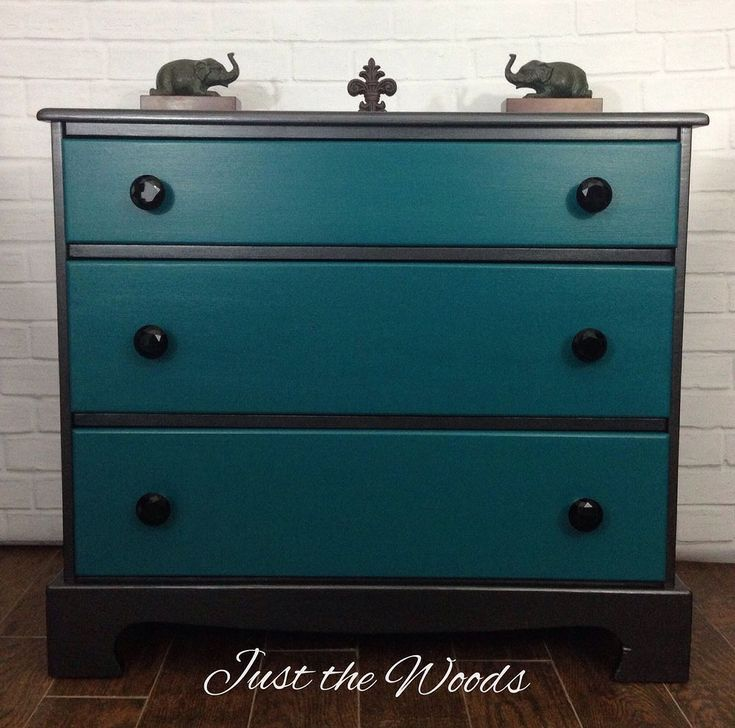 Black Teal Painted And Stenciled Dresser