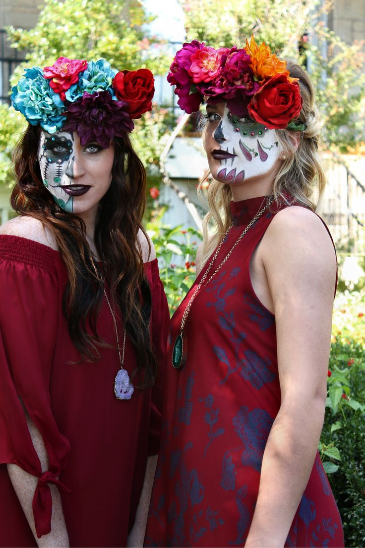 Sugar Skulls red #red #short #dresses #offshoulder #halter #cutout #sugarskull #floral #crown #necklace #accessory #maroon #blue #green #eyes #halfface #makeup #inspiration #halloween #hallowseve #fashion #style #simple #sparkle