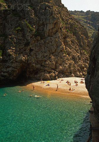 The Torrent de Pareis Beach on Mallorca, Spain