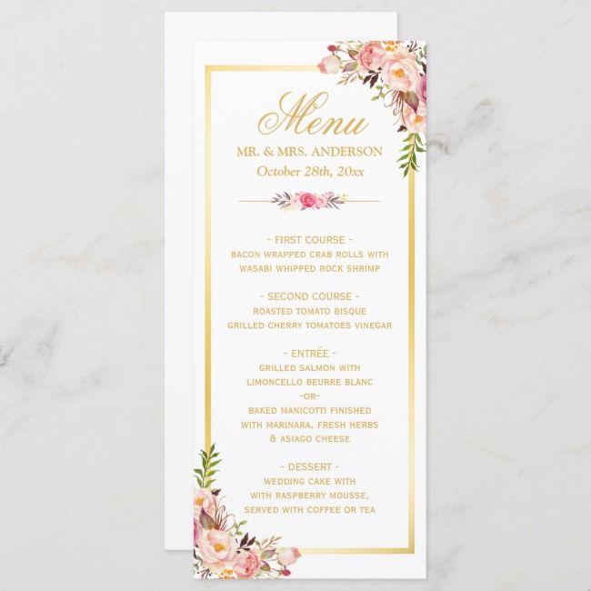 Elegant Chic Pink Floral Gold Frame Wedding Menu In 2018 Day Of