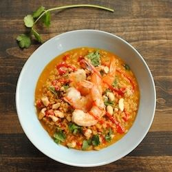 Spicy Coconut Risotto w Lime Shrimp recipe using Seafood Made Simple Raw Shrimp! Make it in your Kitchen Master!!  http://www.seafoodmadesimple.com/index.php/products/shrimp/raw-shrimp