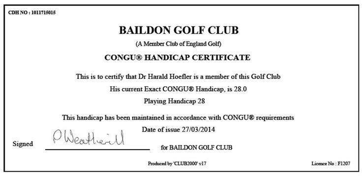 16 best golf fernmitgliedschaft baildon golf club uk for Fake golf handicap certificate template