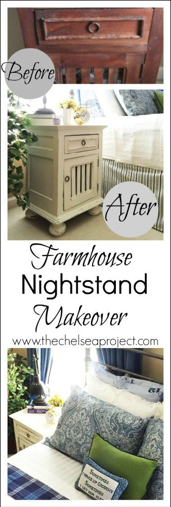 Farmhouse nightstand makeover using chalk paint made from latex paint…