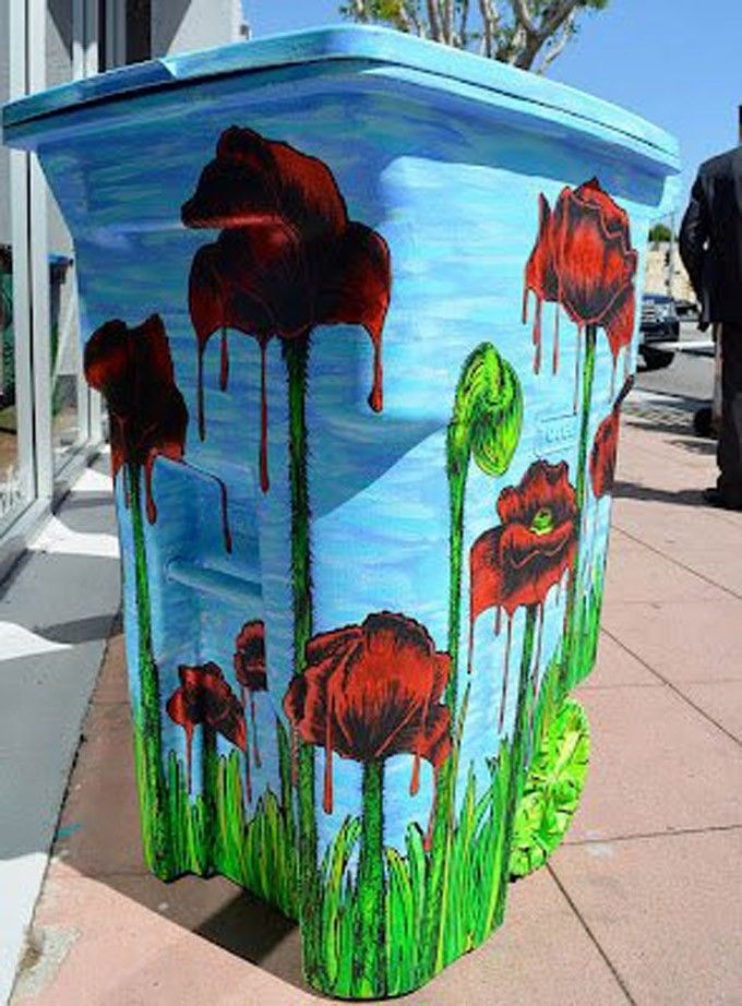 17 best ideas about painted trash cans on pinterest - How to decorate a dustbin ...