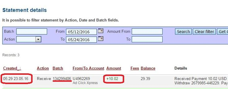 Here is my Withdrawal Proof from AdClickXpress. I get paid daily and I can withdraw daily. Online income is possible with ACX, who is definitely paying - no scam here.  Date: 23.05.2016 (05:29h) To Pay Processor Account: U5301307 Amount: 10.02 Currency: USD Batch: 134299406 Memo: API Payment. Ad Click Xpress Withdraw 2679985-446229  Join now: http://www.adclickxpress.is/?r=goki_mkd