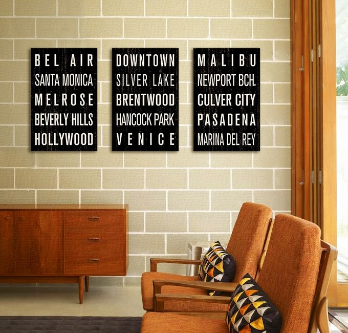 """COLLECTION OF 3 LOS ANGELES SUBWAY SIGN PRINTS (11"""" x 17"""")"""