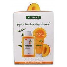 Klorane Pachet Sampon cu extract de mango x 200ml + Balsam cu unt de Mango 50ml CADOU -  Hrănirea și refacerea firelor de păr, întinderea solzilor cuticulei și acoperirea fisurilor filmului hidrolipidic care protejează părul împotriva deshidratării.