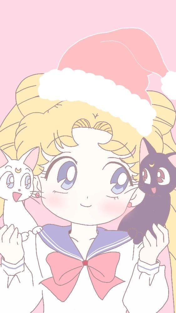 Usagi,Luna e Artemis de Natal