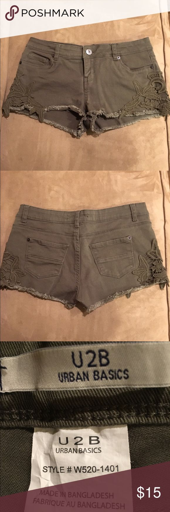 "U2B Urban Basics Green Cutoff Shorts Excellent condition. Adorned with green lace on each leg. Inseam: 1"" Leg Opening: 24"" 98% cotton 2% spandex U2B Urban Basics Shorts Jean Shorts"