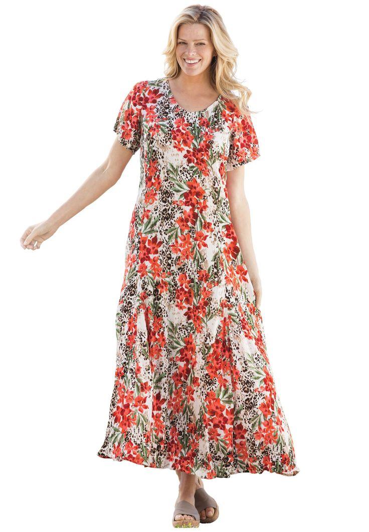 Petite short sleeve crinkle dress   Plus Size Petite Dresses & Skirts   Woman Within