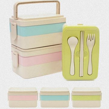3 Layers Wheat Straw Lunch Box Portable Insulation Dinnerware Sets Refrigerator Microwave Container