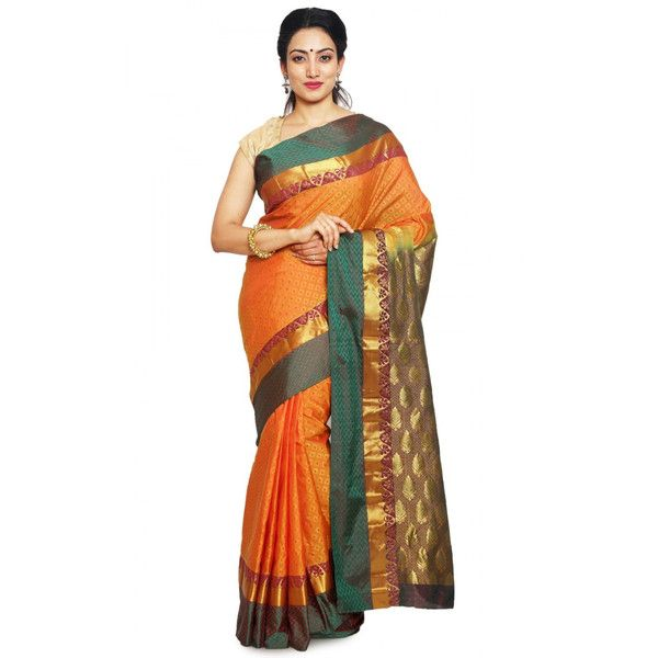 Orange Color Kanchipuram Pure Silk Sarees Online Fashion ($85) ❤ liked on Polyvore featuring tops, embellished top, white tops, orange top, white floral top and embellished party tops