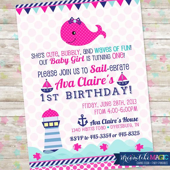 Little Squirt Whale Nautical Pink Anchor Invitation with Whale Bow Girl Sailboat Invitation