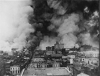 Fires started in San Francisco after the 1906 earthquake hit. The earthquake had broken all but one water main, so firefighters did not have access to water to fight the fires.