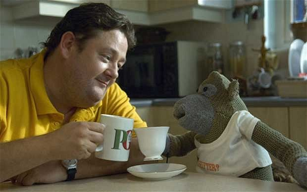 PG Tips drinking Johnny Vegas and Monkey