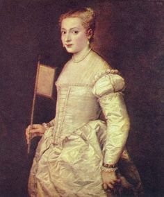 Titian's Lady in White wears Italian fashion of 1555. The front-lacing bodice remained fashionable in Italy and the German States. She appears to be wearing a straight-bodied corset.